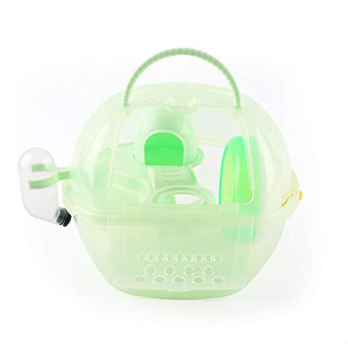 Aiglen 1 Juego de lujo 29 * 23 * 23 cm plástico transparente jaula para hámster Villa casa de viaje portátil para transportar mascotas pequeñas Parque de atracciones (Color : Green)
