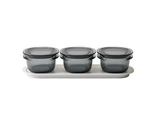 ライクイット (like-it) キッチン収納 調理ができる 保存容器 Sサイズ3個組 グレー+トレーM ホワイト FC-033 冷凍保存可 食器洗い乾燥機可