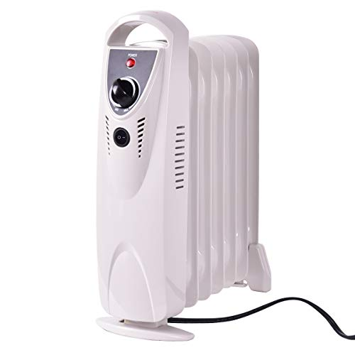 GOFLAME Oil Filled Radiator Heater with Adjustable Thermostat, Electric Space Heater with Tip-over and Overheated Protection, Mini Portable Room Heater for Home and Office, 700W Heater Oil Space