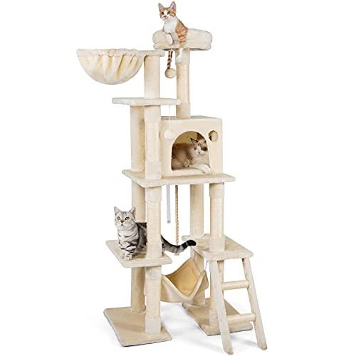 rabbitgoo Tiragraffi per Gatti Alto 155 cm Albero Tiragraffi per Gatti Adulti Grandi Piccoli con Cuccia in Sisal Parco Gioco Giacattolo, Beige