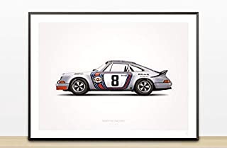 GarageProject101 1973 Martini Racing (Targa Florio) Illustration Poster Print (18 x 24)