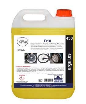 ARGUIPRO Line D10 2 litri. Detergente per la pulizia di cerchi professionali con pH neutro.  Elimina lo sporco senza fatica.