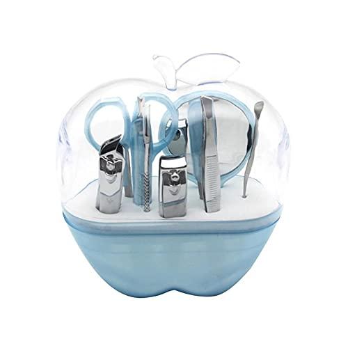 Ensemble 9 en 1 de ciseaux à sourcils en acier inoxydable avec miroir et ciseaux (violet) (couleur : bleu ciel)