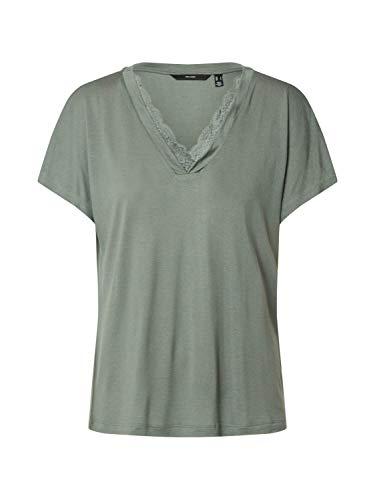 VERO MODA Damen VMSOFIA SS LACE V-Neck TOP GA Color T-Shirt, Laurel Wreath, M
