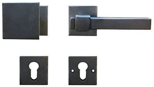 Sicherheitsbeschlag Tür Wechselgarnitur eckig Haustür-Beschlag ANTIK Türbeschlag schwarz RECHTS - LINZ | PZ - Profilzylinder | Knopf - Drücker | 1 Türgarnitur Landhaus-Stil inkl. Befestigungsmaterial