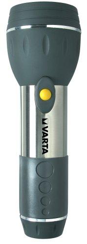 Varta Day Light 2D, Lampe De Poche Active 2 X Pile D Mono Incl, Boîtier À 3 Composants L'Épreuve Des Chocs Acier Inoxydable, Plastique Abs, Caoutchouc, Impe