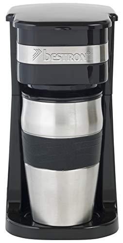 Bestron Kaffeemaschine mit Isolierbecher, Für gemahlenen Filterkaffee, 2 Tassen, 750 Watt, Edelstahl, Schwarz
