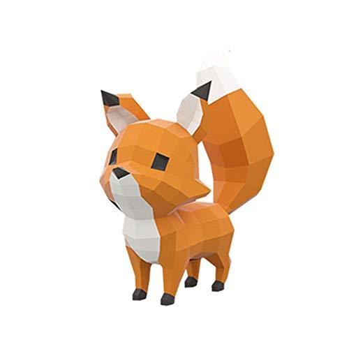 WXMYOZR Trophy Origami Decoración De La Pared del Papel De Bricolaje Decoración 3D Fox Edificio Animal Moderno Equipamiento Casero De Los Ornamentos De Papel Geometría Arte Figuras Crafts