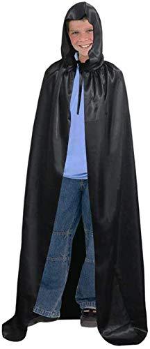 BUZIFU Capa con Capucha Negra 150 cm Capa de Halloween Unisexo Disfraz de Halloween Adultos Disfraz de Vampiresa Oscura Disfraz de Fantasma Brujo o Mago, para La Noche de Halloween, Carnaval(S)