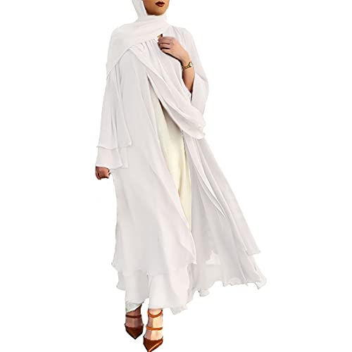 Womens Muslim Maxi Abaya Dress Solid Long Sleeve Jilbab with Belt White