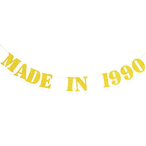 Pancarta Made in 1990, Pancarta Divertida de Cumpleaños 30 Banner de Aniversario, Banner de Papel de Brillo para Suministros Decoraciones de Fiesta de Cumpleaños 30 de Mujeres/Hombres (Oro)