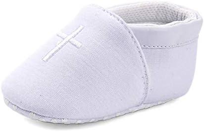 LACOFIA Zapatos de Cuna Blancos para bebés Patucos bebé con Suela Blanda Antideslizante 0-3 Meses