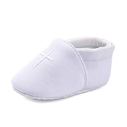 LACOFIA Scarpe da Culla Bianche per Neonato Scarpine Primi Passi per Bambina con Suola Morbida Antiscivolo 12-18 Mesi