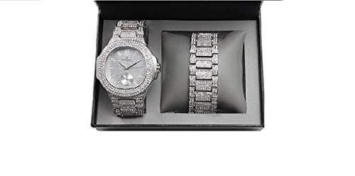 ICE BOX Cuban Link Bracelet & AP Watch Set. Gold Silver Bust Down CZ Diamonds Watch. Hip Hop Rapper Jewelry Rollie Cuban Bling Bracelet. Mille AP Watch (Silver)