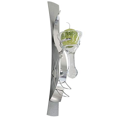 Formano Wandleuchter Kerzenhalter mit Glaseinsatz inklusive 1 Kerze, Höhe 42 cm, 1-flammig, Silber