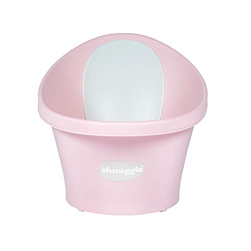 Shnuggle - Bañera para bebé de hasta 12 meses con tapón en la parte inferior, color rosa con respaldo blanco, 1,2 kg
