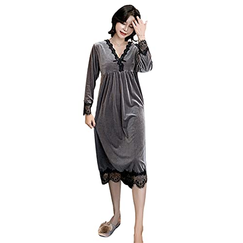 DEBAIJIA Pijama Mujer Albornoz Bata Casa Invierno Ropa Dormir Camisón Terciopelo Dorado Cálido Acogedor Transpirable (Oscuro Gris-XL)