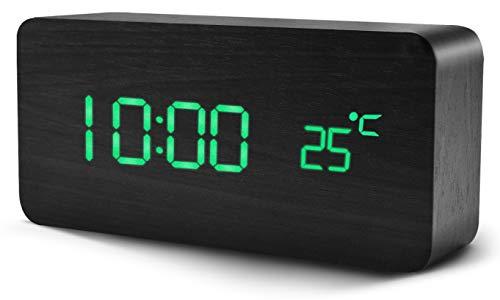 Digitaler Wecker, Chalpr Wecker Digital mit Tonsteuerung und Temperaturanzeige, Holzwecker mit 5 Helligkeit, Snooze Digitaler Wecker Holz mit 12/24 Stunden für Schlafzimmer (Schwarz+Grün)