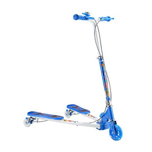 Faltbare Kinderschaukel Tret-Roller Doppelbremse Tri Slider Kick-Speeder Scooters Push-Driften mit verstellbarem Handgriff for Junge Mädchen (Color : Blue)