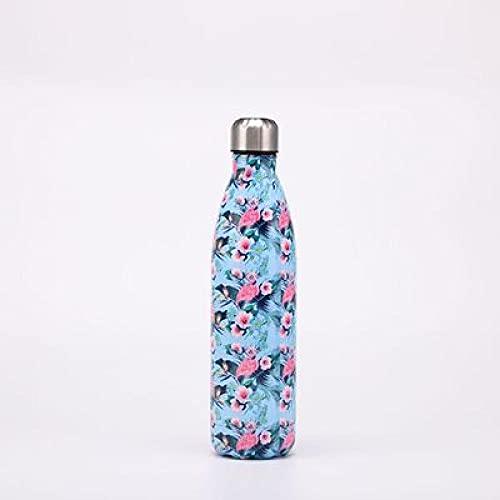 SDGSDG Botella de agua aislada de acero inoxidableLarge capacity Coke bottle double-layer kettle-Blue flower_750mlpara fitness, gimnasio, senderismo, bicicleta, yoga,