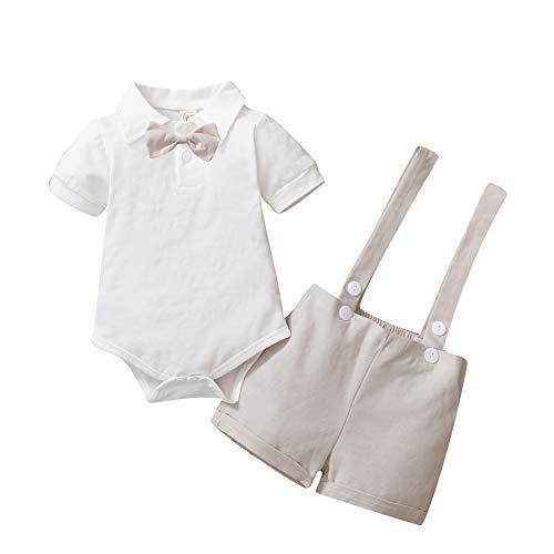 Conjunto de traje de caballero para bebé, de manga corta, con camiseta, pelele y tirantes cortos, para bautizo, boda, 0 – 24 meses A-beige 3-6 Meses
