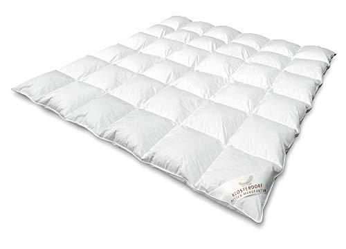 Klosterdorf Bettenmanufaktur Premium Ganzjahresdecke \'\'nonplusultra\'\' | 200x220 cm | 730 Gramm | LEICHT | Handarbeit aus Deutschland | Bettdecke | Für einen gesunden Schlaf