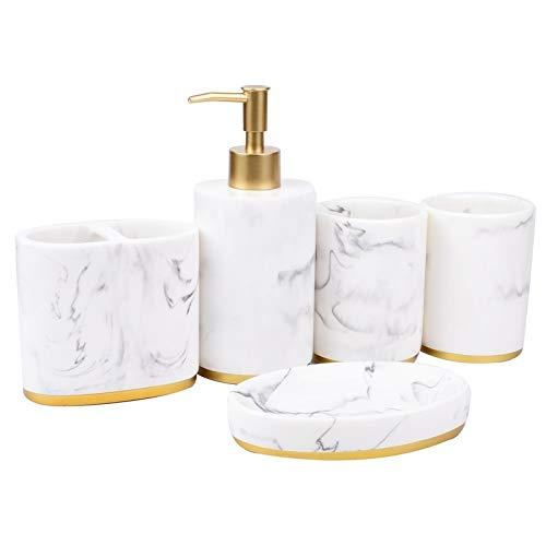 W.Z.H.H.H Conjunto de Accesorios de baño Accesorios de baño Set de baño Ensemble colección determinada del baño de mármol patrón dispensador de jabón Cepillo de Dientes Titular