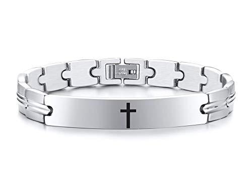 VNOX Kreuz/Satan Kreuz/Ankh Kreuz/Papa/Wikinger/Die Legende von Zelda Manschettenarmbänder Edelstahl Link Armband Armband für Männer,Einstellbare Länge 21.5cm