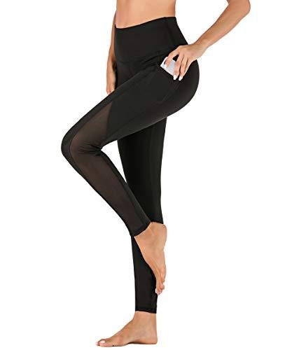 Yaavii Damen Sport Leggings mit Taschen Blickdicht Lange Sporthose Hohe Taille Yoga Hose mit Mesh-Einsätzen für Workout Gym Schwarz XL