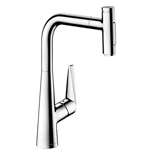 hansgrohe Talis Select S Premium 1-Handle 16-inch Tall Kitchen Faucet with Pull Down Sprayer with QuickClean in Chrome, 72823001