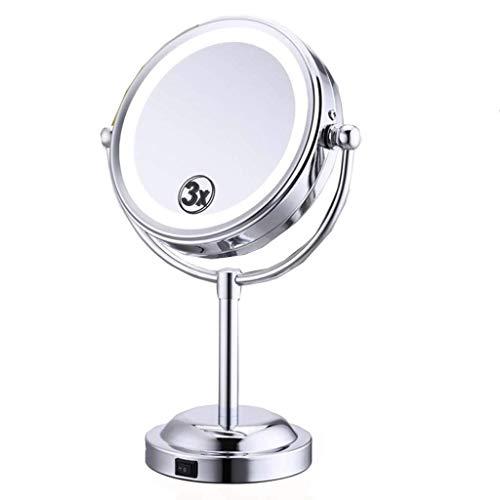 LULUDP Badspiegel Kosmetikspiegel Vergrößerungs LED Kosmetikspiegel/Rasierspiegel mit 3X / 1-fache Vergrößerung Doppelseitenspiegel 6 Inches Cosmetic Table Top Spiegel, Badezimmerspiegel mit Licht b