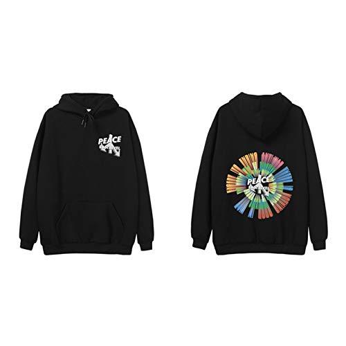 JYQH New Street Hip - Suéter con capucha para Europa y América Plus cachemir tendencia salvaje 3D degradado impresión manga larga negro-L