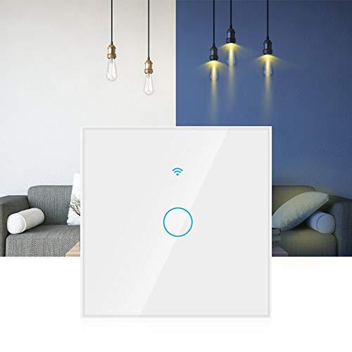 Interruptor inteligente, teclas táctiles altamente sensibles Interruptor WiFi 1 vía, Siri Control por voz Oficina en casa a prueba de(white, European regulations)