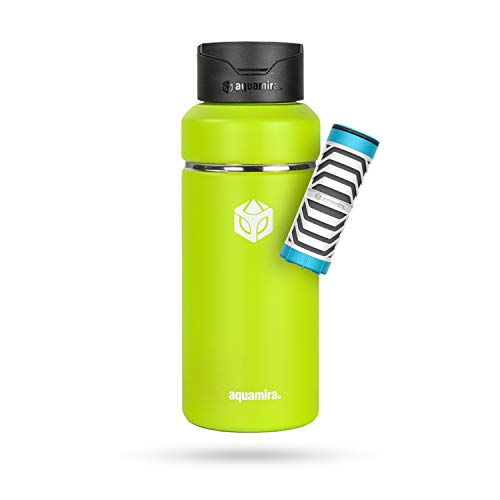 Aquamira Shift Filtered Water Bottle with Everyday Filter - Insulated and BPA-Free for Hiking Camping Backpacking Travel and Emergency Survival Preparedness Citrus 32oz
