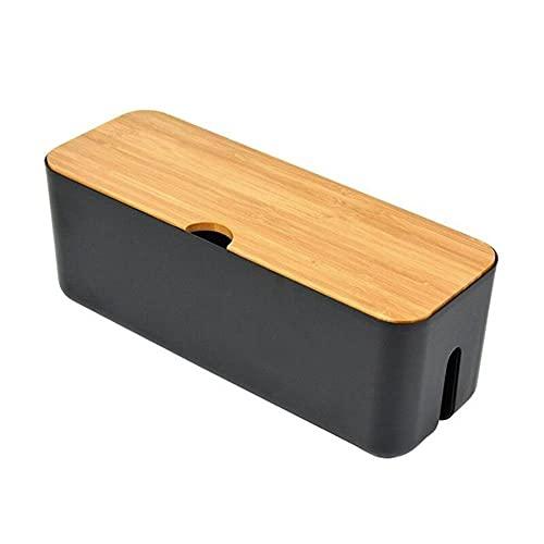 Caja de almacenamiento de cables placa de alimentación caja de cables a prueba de polvo organizador de tomas de cargador caja de almacenamiento de cables de red gestión de cables del cargador-Negro