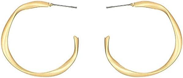Twisted Gold Open Hoop Earrings for Women Girls Small Twist C Hoop Earrings Gift for Birthday Christmas Gifts