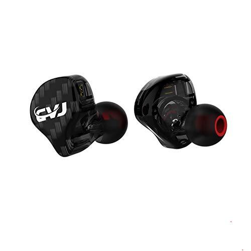 CVJ CSA In-Ear-Monitor, 1BA + 1DD Balanced Armature Drives HiFi Bass in Ear Kopfhörer/Kopfhörer, Dual Magnetic DD IEM mit abnehmbarem Kabel, universell passend 0,75 mm, 2-Pin (schwarz, kein Mikrofon)
