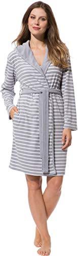Morgenstern Bademantel Damen in Grau - Weiß gestreift kurz Frauen Baumwollbademantel Saunamantel Damenbademantel Baumwolle Polyester Größe L
