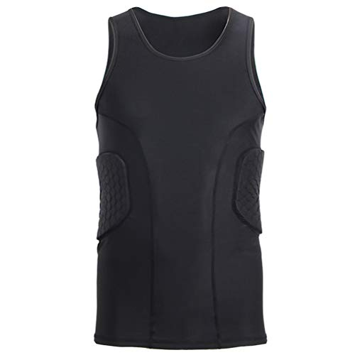 Men's Padded Sleeveless Shirt Sport Protective Gear Basketball Tank Top Rugby Padded Compression Vest Black M