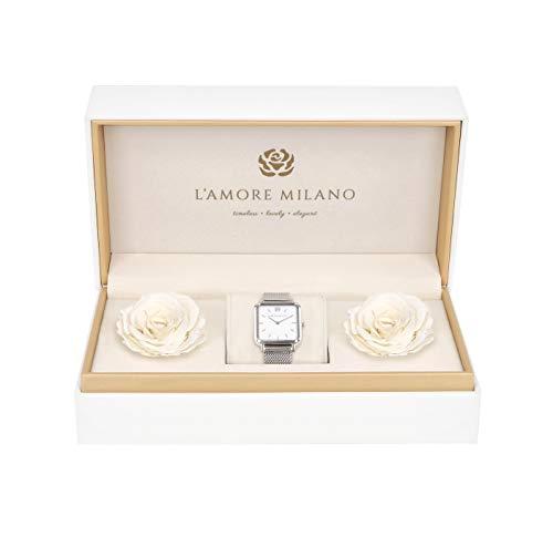 L'AMORE MILANO Rosenbox - Damenuhr Noemi - Uhr Mesh Armband Frauen - Uhren Geschenkbox echte Rosen für Damen - Infinity Rosen - Uhr Geschenk Set