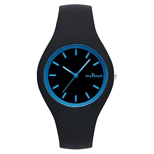 Reloj Niño Yuan Ou Niños Reloj de Pulsera de Cuarzo para niños Reloj de niño para niña Relojes de Moda para niños Silicona Simple Negro Negro Azul