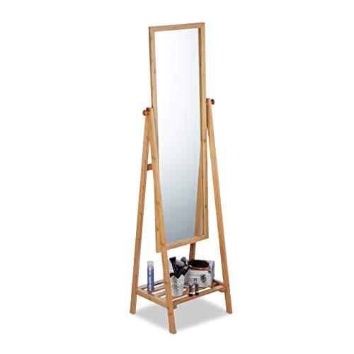 Relaxdays Specchio da Terra bambù, Inclinabile, Autoportante con Ripiano Portaoggetti, HLP: 160x40x36 cm, Legno Naturale