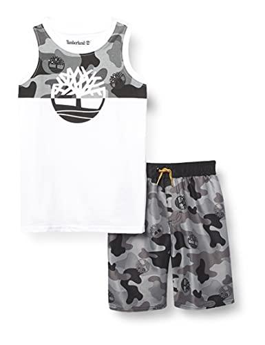 Timberland Baby Boys' 2 Pieces Muscle Top Shorts Set, Parasail White/deep Black camo, 12M
