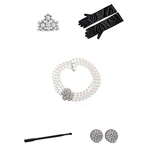 Utopiat Holly 5 Stück Mini Perlen Schmuck Flapper Kostüm Set Mädchen inspiriert von Audrey Hepburn Stil (Alter 2-7, ohne Geschenkbox)