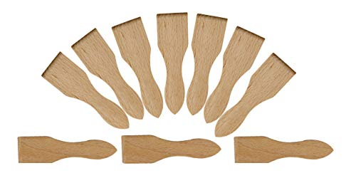 BICB Wooden Raclette Spatula for Non-stick Pans | Baking Utensils Set | Kitchen Tools & Gadgets - Great Bakeware for Cooking and Decorating (Set of 10)