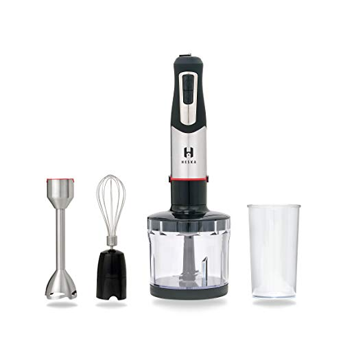 1000W - Heska Hand Blender - 4 Speed Immersion Control - Handheld - Low Noise Powerful Blender - Copper Motor - Inc. Baker Whisk, 600ml Food Processor/Chopper - Ergonomic, Slim and Comfortable.