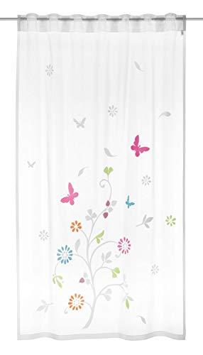 Albani Kinderzimmer Gardine Spring Schmetterling | BxH 140x245cm | Vorhang verdeckte Schlaufen | bunt Bedruckt für Stilgarnituren oder Schienensystem | transparent