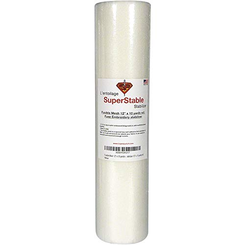 Fusible Mesh Stabilizer 1.5 oz 12 inch x 10 Yard Roll. SuperStable Fuse Embroidery Stabilizer Backing