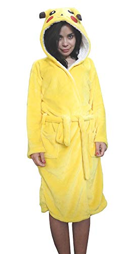 Lovelegis Größe L - Pikachu - Morgenmantel - Bademantel - für Schlafzimmer - Nacht - Pyjama - Mann - Frau - Unisex - weiches Fleece - mit Kapuze und Gürtel - Zeichen