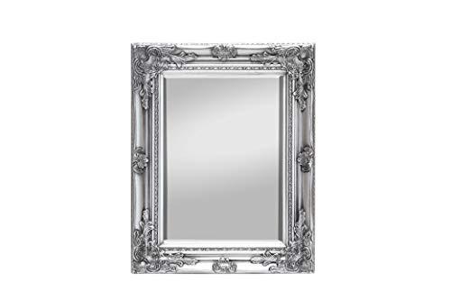 Rococo by Casa Chic - Silberner Shabby Chic Spiegel - Massivholz - Handgefertigt - Barock - 42x53 cm - Antik Silber
